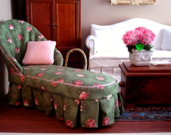 """1/12"""" Scale Green Floral Chaise"""