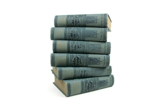 Antique Hardcover Book Collection Six Volumes Washington Irving Blue RARE