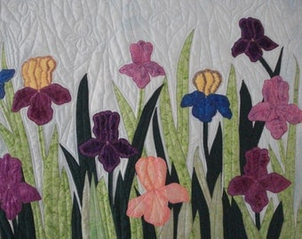 Quilted Wall hanging Iris Fields