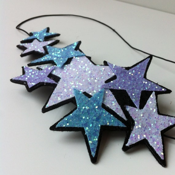 Glitter Stars Headband - Galaxy of sparkly lilac, pale blue and white stars