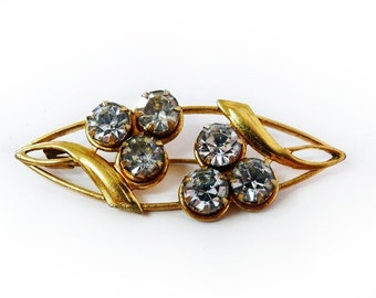 1940s Brooch Pin Gold Rhinestone Marked MK5 Art Deco Pin Wedding Prom Party Dess Brooch