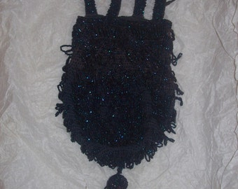 Antique Victorian Gatsby Handmade Black Blue Glass Fringe Beaded Woven Wristlet Pouch Purse Roaring 20's Knitted Accessory