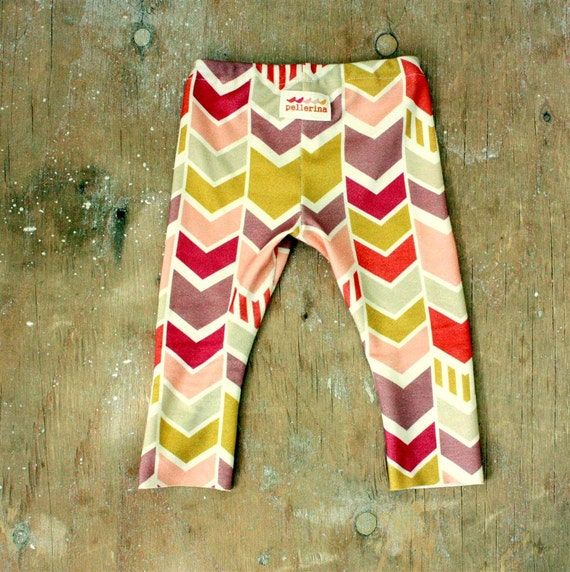 organic cotton chevron leggings by pellerina.. made to order.. 6m 12m 2 3 4 5