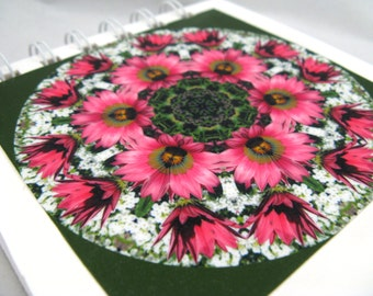 Notepad with photographic mandala - pink and white flowers