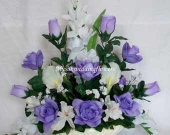 Lavender, Lilac Roses, Real Touch Ivory Calla Lily, Gladiolus Silk Flower Floral Arrangement / Centerpiece