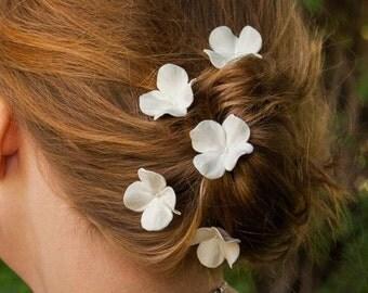 Wedding Hair Pins - Set Of 5 Hydrangea Hair Flowers, Bridal Hair Accessories, Wedding Hair Accessories