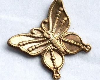 6 Vintage Brass Spring Butterflies // Art Noveau Insect