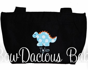 Boys Lunch Box, Boys Lunch Bag, Personalized Dinosaur Lunch Bag or Tote, Custom Colors and Name, Boys or Girls