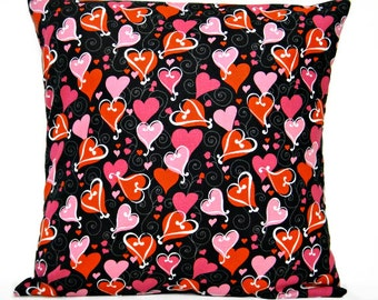 Red Valentine Hearts Pillow Cover Cushion Pink White Black Scroll Decorative 16x16