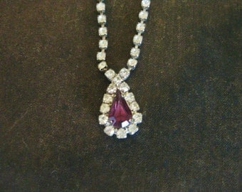 Vintage Rhinestone and Amethyst Necklace