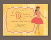 Crowned Teen with Ponytail - Birthday Party Invitations - African American