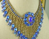 RESERVED FOR JENNY Stunning Cobalt Blue and Light Yellow Czech Rhinestone Necklace