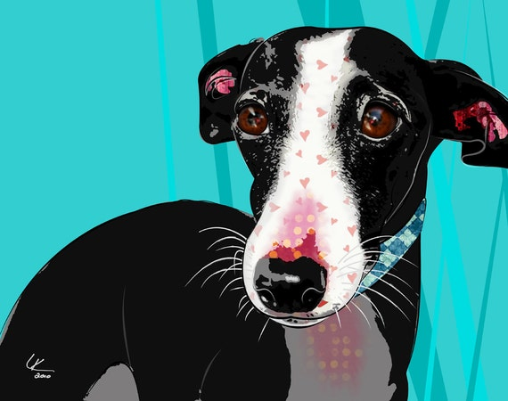 "Puzzle, 8x10"" Italian Greyhound Pop Art Print, Dog Portrait"