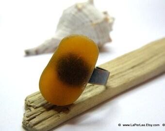 MERMAID's Tear RING - Organic Dark Amber Sea Glass Adjustable Ring with Genuine Natural Amalfi Sea Glass