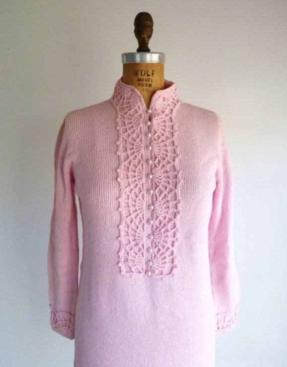 Vintage 1960s St John Knits Sweater Dress Pale Pink 60s Mod Bib Collar Lace Crochet S/M