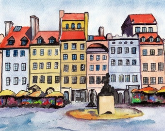 Old Town Square - Original Watercolor Painting