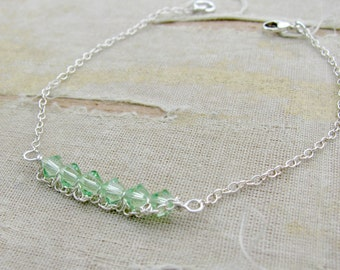 August Birthstone Bracelet---Sarah Bracelet-Mother's Day Bracelet- August Birthstone-Sterling Silver shown in Peridot