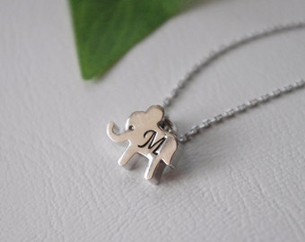 Little Girl Necklace, Children Jewelry, Lucky Elephant Necklace, Custom Baby Elephant Monogram Gifts, Birthday Gift, Personalized Gift