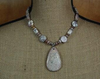 Natural Jasper Purple Wheys Gemstones, .925 Sterling Silver Pendant Necklace