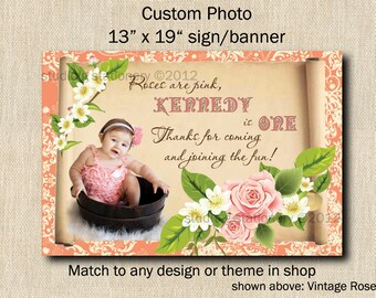 Custom Photo Sign or Banner - Great for Parties Match to any theme