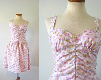 1990s Mini Dress Pink Sundress Ditsy Floral Print Babydoll Summer Sun Ruched Bodice Open Back Vintage 90s Grunge Soft Cotton S Small