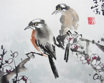 Pie Bird Standing On White Plum Branch Painting Asian Watercolor Painting By Chinese Famous Artist Li Yuanguo - 1351