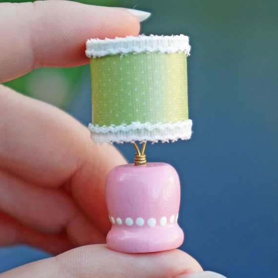 Dollhouse Miniature Table Lamp - Pink and Green Modern Shabby Chic ...