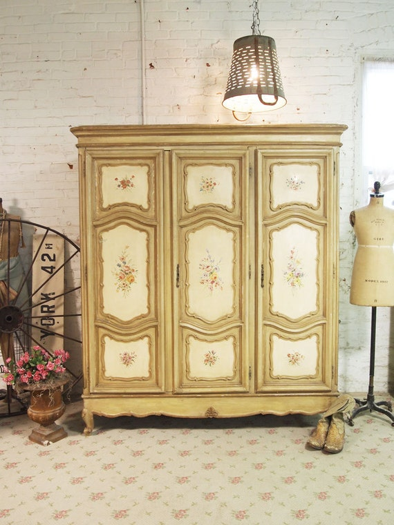 RESERVEJenniferPainted Cottage Chic Shabby French Armoire AM11