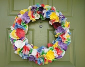 Custom Order Paper Floral Wreath with Cupcake Liners--All Seasons, Holidays, and Occasions