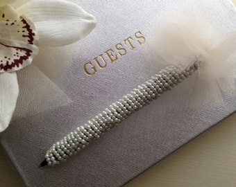 Pearl Bridal Pen with Tulle Pouf / Handmade Pen / great for guest book or writing thank you notes