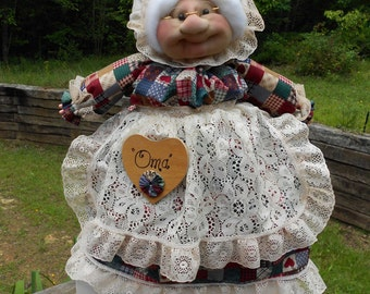 "23"" Soft Sculpture Free Standing Grandma Cover - Jeweltone Patchwork"