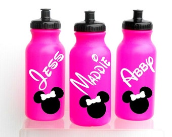 NEW 20ozPINK  Walt Disney Water Bottle Personalized Minnie Mouse Mickey Mouse Birthday Party Favor