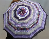 "Hand sewn Parasol of ""Ribbons"" - highly textured purple and silver fabrics"