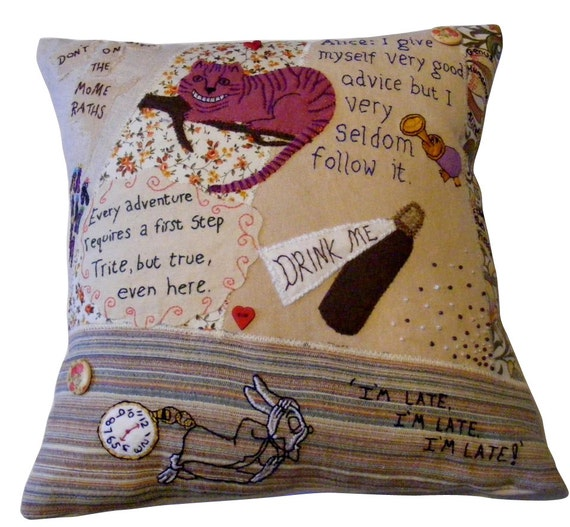 Alice in wonderland themed pillow cushion, patchwork fabrics with applique and hand embroidery.