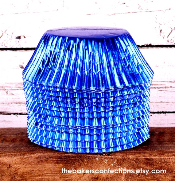 Blue Foil Cupcake Liners, Foil Baking Cups (100 count)