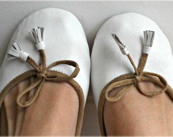 COCO- Ballet Flats - Leather Shoes - 41- WHITE.