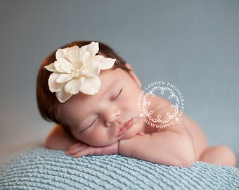 Baby Girl Headband, Ivory Baby Headband, Newborn Photo Prop, Skinny Baby Headband, Baby Girl Photo Props, Newborn Baby Flower Headband
