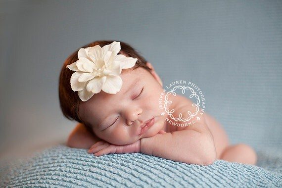 Baby Girl Headband, Ivory Baby Headband, Newborn Photo Prop, Skinny Baby Headband, Baby Girl Photo Props, Newborn Baby Flower Headband