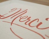 Merci  Letterpress Thank You Card in Red Set of 5