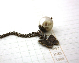 Butterfly and Glass Pearl Romantic Necklace : Days Gone By Necklace