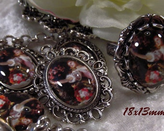 "18x13mm - Victorian Beauty  Portrait Cabochon - ""Mollie"" - 3 pc : sku 01.26.13.12 - F9"