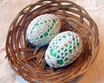 Crochet Lace Covered Plastic Easter Egg Set of 2