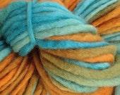 Bulky / Chunky Weight Hand Painted Wool Yarn Pencil Roving in Hopi Land 60 yards Aqua Orange