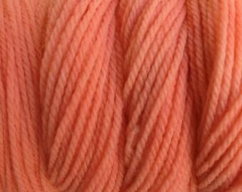 Melon Orange DK Sport Weight Hand Dyed Merino Wool Yarn