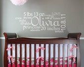 Personalized Baby Nursery Subway Art- Vinyl Wall Decal
