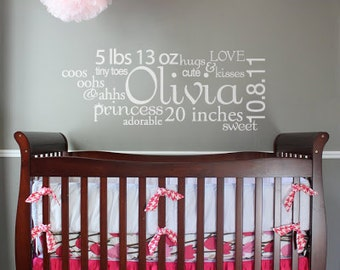 Baby Name Sign Vinyl Wall Decal- Personalized Subway Art