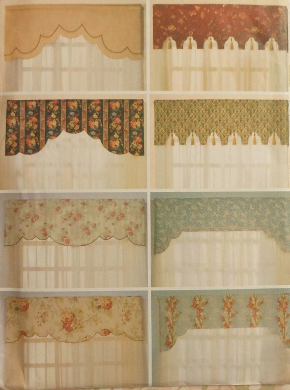 Reversible valances sewing pattern uncut butterick 6563 - Kitchen valance patterns ...