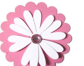Pink Flower cupcake toppers or favors