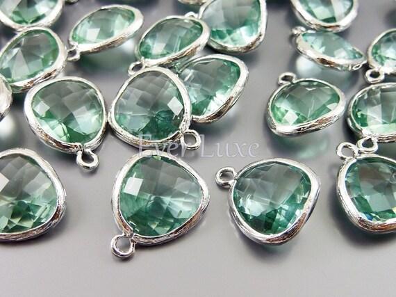 5031R-PR (2 pcs) Prasiolite / Rhodium Faceted Glass pendants