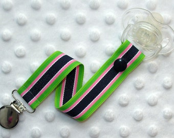 Navy Blue / Pink / Green Stripes Pacifier Clip Soothie Holder